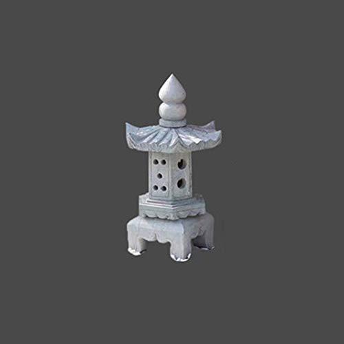 FF&XX Japonés Jardín Lámpara De Piedra Estatua,Al Aire Libre Energía Solar Estatua De La Figura,Energía Solar Luces Al Aire Libre,Decoración De Arte De Patio E 60cm