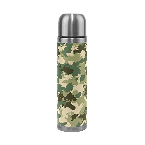 Emoya Vakuum Isolierflasche Sport Wasserflasche Camouflage Vakuum Edelstahl Flasche 500ml