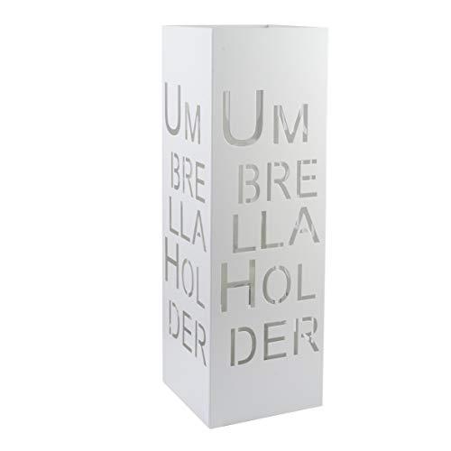 Baroni Home Portaombrelli Design Moderno Porta Ombrelli in Metallo con Intaglio Scritta Umbrella Holder Bianco con Gancino e Vaschetta Scolapioggia Rimovibile 15,5X15,5X49 cm
