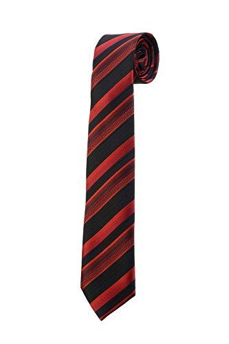 Oh La Belle Cravate Cravate fine slim à rayures rouge noir homme DESIGN RTS