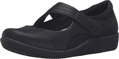 CLARKS Women's Sillian Bella Mary Jane Flat, Black Synthetic Nubuck, 8.5 N US