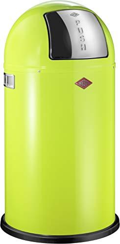 Wesco 175 831 Pushboy Abfallsammler 50 Liter Lemongrün 40 x 40 x 75.5cm (L/B/H), Edelstahl
