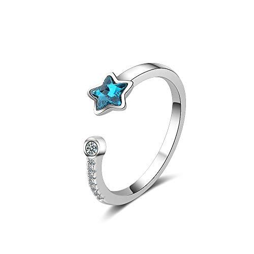Chandler - Anillo de Plata de Ley 925 con Estrella Azul de Cristal para Mujeres y niñas, Regalo de San Valentín, tamaño Ajustable, Anillo de Plata