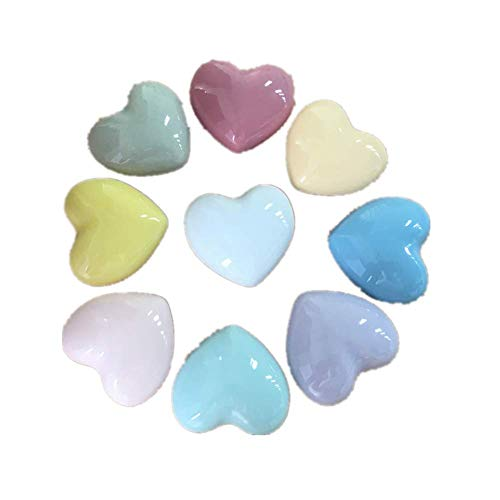Ototon - 8 pomelli per cassetti in ceramica, a forma di cuore, per armadio, camera dei bambini