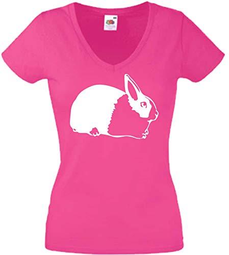 JINTORA T-Shirt - Chemise Femme Rose - V-Cou - Taille XL - Rabbit HOLLANDAIS - Lapin - JDM/La Coupe - pour la fête Carnaval Travail et Loisirs