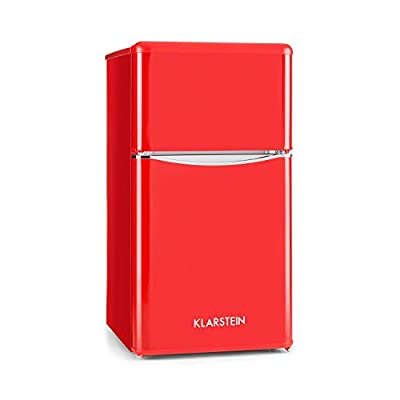 Klarstein Monroe Black Refrigerator & Freezer Combination (61L Fridge Volume, 24L Freezer Compartment Volume, Class A+, Retro Look)