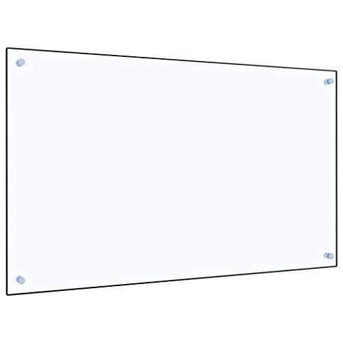 vidaXL Küchenrückwand Spritzschutz Fliesenspiegel Glasplatte Rückwand Herdspritzschutz Wandschutz Herd Küche Transparent 100x60cm Hartglas