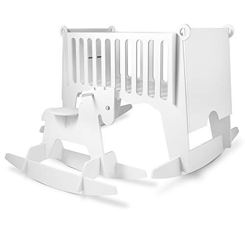 Conjunto de mini cunas para bebe madera tipo balancín 5 en 1 blanco - Mecedora con minicuna bebé ahorra espacio en un solo set