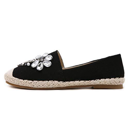 Mujeres Alpargatas Moda Rhinestone Flor decoración Color sólido cáñamo Slip en Baja Parte Superior Plana Zapatos Individuales Primavera Verano señoras Zapatos Casuales