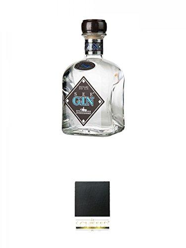Steinhauser See Gin Bodensee Dry Gin Deutschland 0,7 Liter + Schiefer Glasuntersetzer eckig ca. 9,5 cm Durchmesser