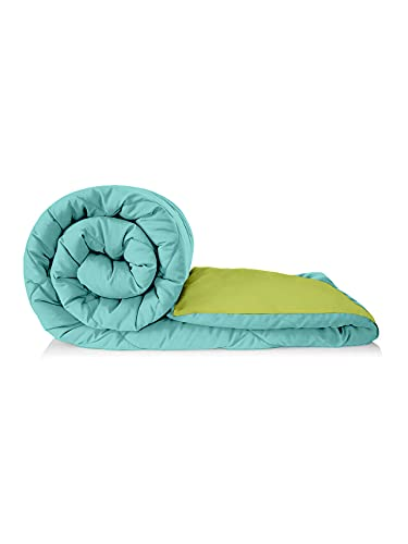 Clasiko Reversible Double Bed King Size Comforter/Duvet For Winters; Color - Blue Aqua & Green Olive; Fabric - Micro Cotton; 250...