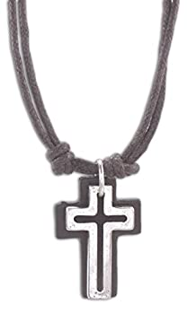 Cruz Accessories Open Cross with Leather Back on Double 16  Cord Vintage Look Necklace  Brown