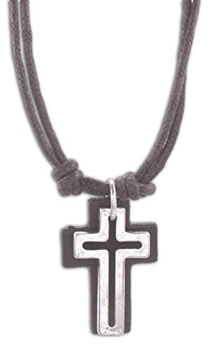 """Cruz Accessories Open Cross with Leather Back on Double 16"""" Cord Vintage Look Necklace (Brown)"""