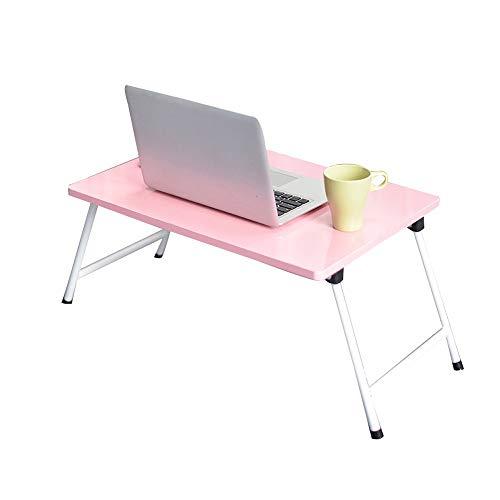 FGHCHMY-Tisch Klappbarer Laptoptisch, Computer-Laptopständer, klappbares Frühstückstablett, Laptoptisch, Lazy Table Bed, Kohlenstoffstahlrahmen, tragbares Klapptisch (40 * 60 * 30 cm) (Farbe: Pink)