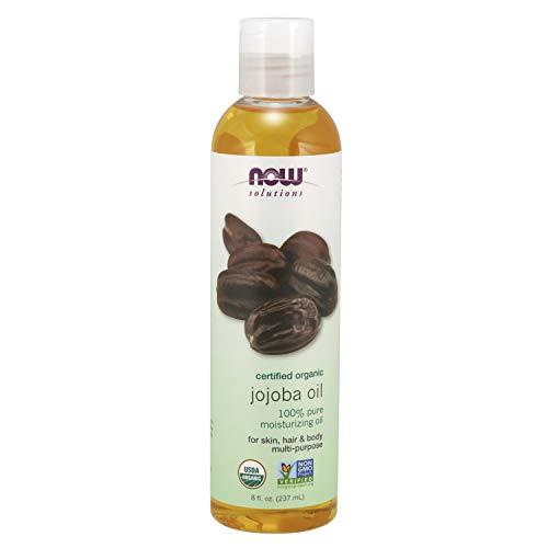NOW Solutions Organic Jojoba Oil Moisturizing MultiPurpose Oil for Face Hair and Body 8Ounce