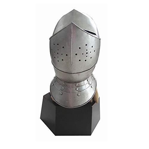 Disfraz medieval Casco de la vendimia del caballero de la armadura del guerrero Metal con el escudo de la cara extrable Accesorio para sombreros de disfraces ( Color : Silver , Size : 36x33x61cm )