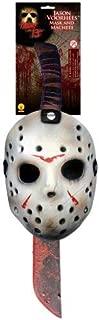 Jason Voorhees Mask & Machete Set White/Red