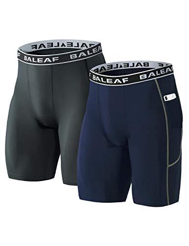 バリーフ(Baleaf) コンプレッション タイツ メンズ ショート アンダーウェア アンダーパンツ 加圧 インナー ポケット 2枚セット グレー/ネイビー M
