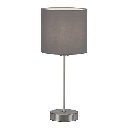 Briloner Leuchten - Tischleuchte, Tischlampe, Nachttischleuchte, Nachttischlampe, Schreibtischlampe, 1x E14, inkl. Kabelschalter, Stoffschirm, Grau, 160x385mm (DxH), 7002-014