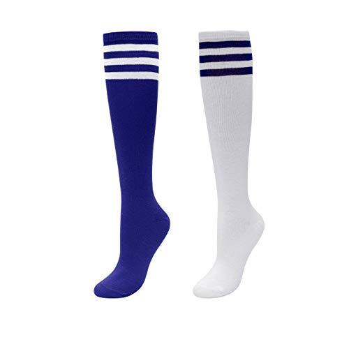 CHIC DIARY Kniestrümpfe Damen Mädchen Fußball Sport Socken College Cheerleader Kostüm Strümpfe Cosplay Streifen Strumpf, 2 Paar(blau+weiß Blau Streifen), Einheitsgröße