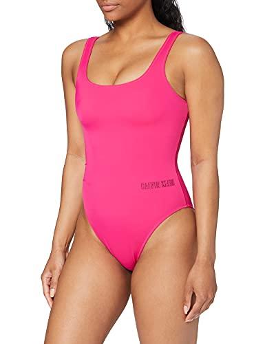 Calvin Klein Damen Square Scoop ONE Piece Badeanzug, Violett (Beetroot Purple 507), (Herstellergröße: L)