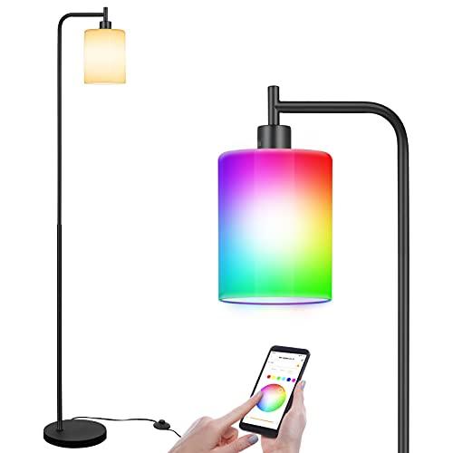 Linkind lampada da terra LED stile industriale in metallo e vetro (max. 60 W), per soggiorno, camera da letto, con interruttore a pedale, lampada da terra con lampadina E27 Smart RGBW