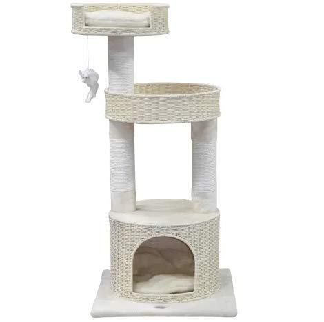 """Mix.Home Beige Cat Tree Condo with Sisal Covered Posts SF088, 44"""" H. Best Choice for Your Pets. Kitty Posts. Cat's Stands. Best Cat Bed & Trees & Condos. Pet's Playground."""