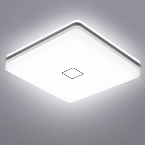 Öuesen Plafoniera LED Lampada da Soffitto 24W, Plafoniera Bagno Moderna 5000K Bianco Freddo, Plafoniere Soffitto 2050LM Impermeabile IP44 Per Cucina Sala Pranzo Balcone Camera da letto