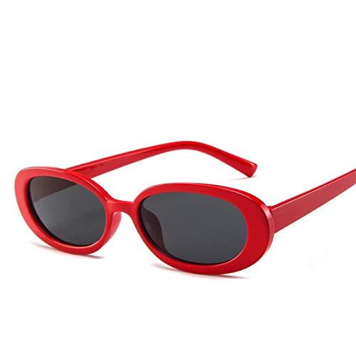 Secuos Moda Gafas De Sol Ovaladas De Estilo para Mujer, Montura Redonda Retro Vintage, Gafas De Sol Blancas para Hombre, Gafas Transparentes De Hip Hop Negras para Mujer, Uv400 Rojo