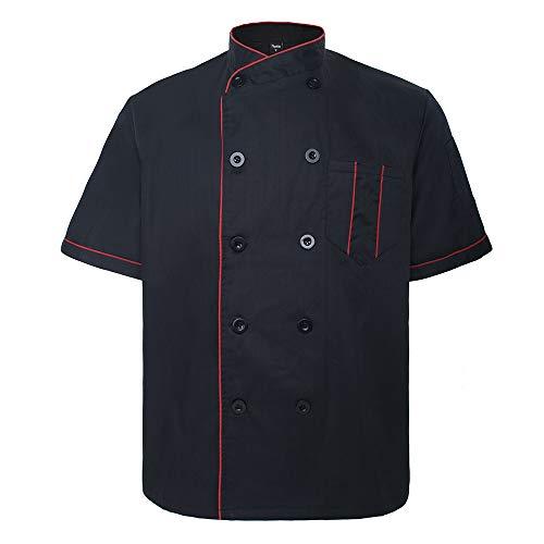 TOPTIE Chaqueta de Chef con Manga Corta, Uniforme de Cocinero con Bosillos, Estilo Varios, Unisex