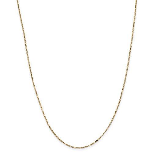 Diamond2deal 14K giallo oro 1.25mm piatto Figaro catena per donne 61cm
