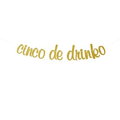 Cinco De Drinko Banner Garland Sign, Gold Glitter Birthday Party Decor, Taco Bout Love, Lets Fiesta Taco Bar, Mexican, Cactus Decorations