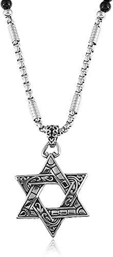 Yiffshunl Collar Collar de Acero Inoxidable para Hombre con Colgante de Estrella Collar con Cuentas de Piedra Natural Negra Collar de 27 Pulgadas Regalo