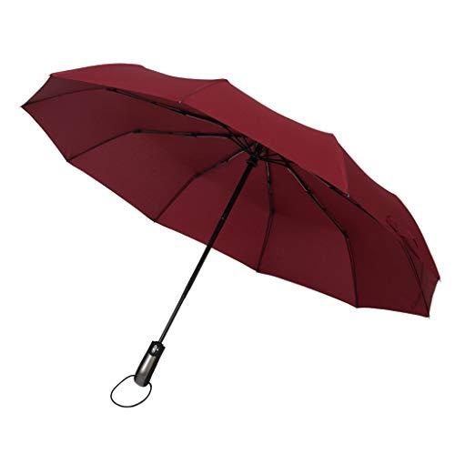 F Fityle Unisex Schirm Regenschirm Sturmfest Kompaktschirme Auf-Zu Automatik Anti-UV Regenschirm Groß Taschenregenschirm - Wein Rot