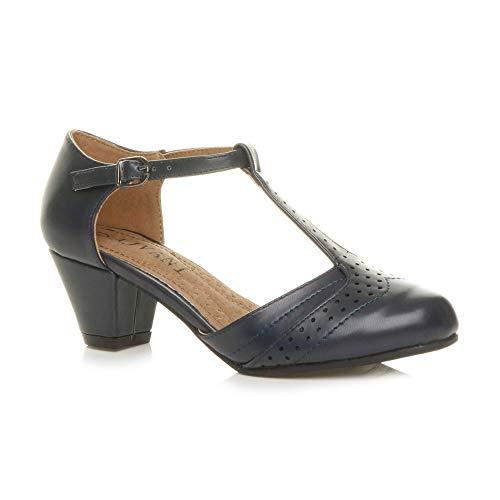 Ajvani Damen Mitte Blockabsatz T-Riemen Ausgeschnitten Brogues Pumps Sandalen Größe 5 38