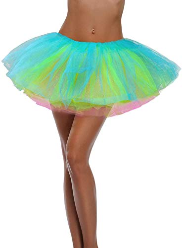 Ruiuzi Mini falda de tutú para mujer, 4 capas, para baile, disfraz, fiesta, Halloween, bailarina rockera, Arco de 5 capas., talla única