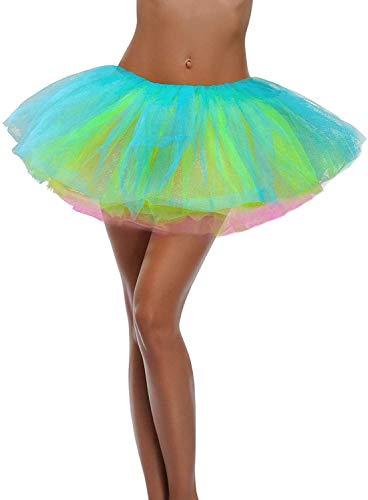 Ruiuzi Mini falda de tut para mujer, 4 capas, para baile, disfraz, fiesta, Halloween, bailarina rockera, Arco de 5 capas., talla nica