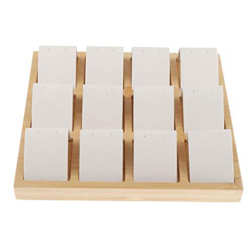Bonarty 12 Steckplätze Ohrringkarten, Samt/Kunstleder Bambus Ohrringe Display Kartenhalter für Schmuck Zubehör Display - Weiß