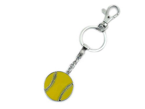 Softball Keychain | Premium Softball Personalized Keychain | Engravable Softball gifts for Girls with Easy snap-on Clasp