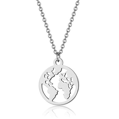 Collar De Mapa,Ein Weltkarte Halskette,Map Necklace,Attractive Hollow Coin World Map Silver Stainless Steel Pendant Necklace Bohemian Bling Unique Ethnic Charm 45Cm Chain Jewelry For Women Man Trave