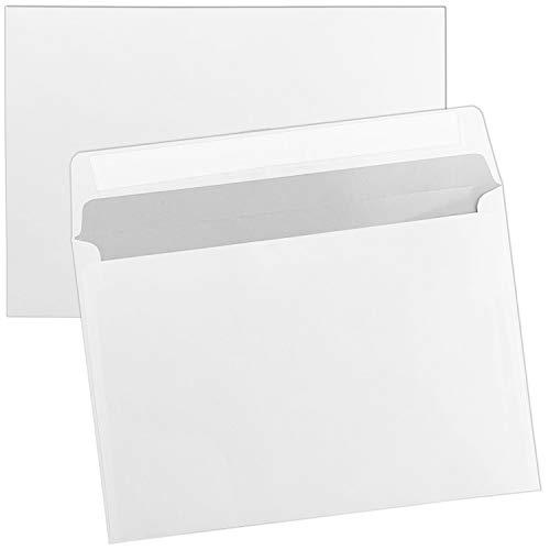100 x Briefumschläge DIN C6 (114 x 162 mm), gerade Klappe, selbstklebend ohne Fenster, weiß, 80 g/qm
