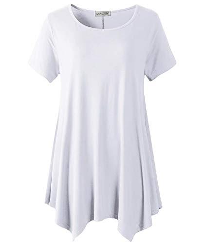 LARACE Womens Swing Tunic Tops Loose Fit Comfy Flattering T Shirt White