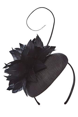 Roman Originals Damen Kopfschmuck mit Feder, Pillbox-Hut mit Vogelfeder- Damen Vintage-Hut, elegant, besondere Anlässe, abends, Hochzeit, Brautmutter, 20er Jahre - Schwarz - Größe ONE