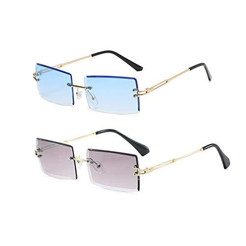 YOJUED Vintage Randlose Sonnenbrille für Damen und Herren Mode Retro Rechteck Brille UV400 Schutz (Z-Blau+Grau)