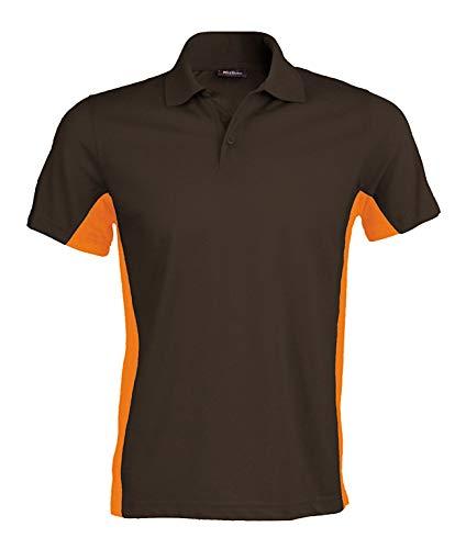Kariban Herren Polo Flag Zweifarbiges Polohemd Mehrfarbig Dark Grey/Orange 3XL