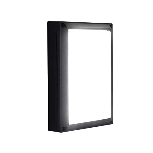 Lightess 18W Apliques de Pared Exterior LED Lámpara de Pared Moderna Impermeable IP65 Luz de Aluminio Iluminación para Patio, Terraza, Balcón, Negro (blanco frío)