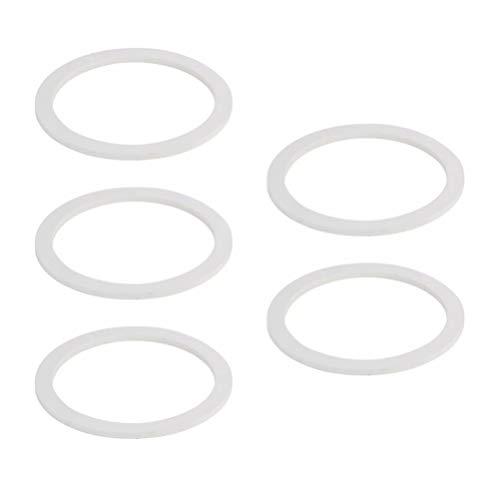 UPKOCH Silikon Kaffeekanne Dichtungsring Ersatzdichtung Ring Ersatz Kit für 6 Tasse Espressokocher Mokkakannen Brühkammer Universal Profi Zubehör Weiß 5 Stück