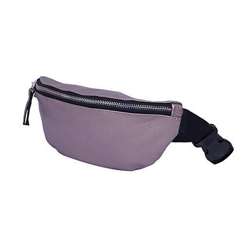CAGIA faux väska midja skinn för män och kvinnor - Justerbar rem 1 Inside Outside blixtlås påse fickor midja för utomhusaktiviteter - midjeväska för resor, cykling - Brons, pudrig
