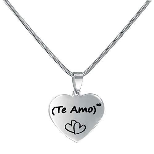 TEMPUS FUGIT. Regalo para el Amor. Colgante/Collar de Acero Inoxidable Brillante Antialérgico Corazón con Mensaje Grabado. Incluye Caja para Regalo
