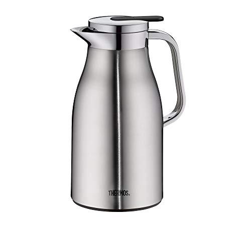 THERMOS Thermoskanne Century, Edelstahl mattiert 1L, Glaseinsatz, Einhandausgießtaste, 4046.205.100 Isolierkanne hält 12 Stunden heiß, ideal als Kaffeekanne oder Teekanne, Kanne für 8 Tassen